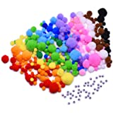 Outus Multicolor Pompoms with Self-Adhesive Wiggle Eyes for DIY, Crafts and Decorations, 6 Sizes, 500 Pieces
