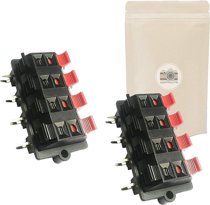 Marca Francesa Conector con Botones y Conectores Lote de 3 terminales de 2 v/ías para Altavoz Adaptador