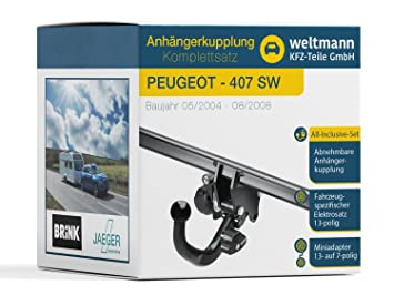 Mundo Muñeco 7d160001 Peugeot 407 SW (6E _) - desmontable Remolque Incluye fahrzeugspezifischem 13 pines Juego eléctrico: Amazon.es: Coche y moto