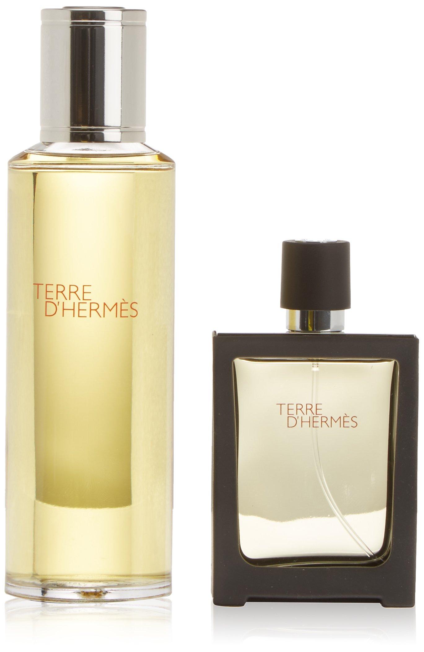 Hermes Terre D'hermes Pure Perfume 2 Pc Set For Men (4.2 Parfum Refill + 1.0 Parfum Refillable Spr) by HERMES