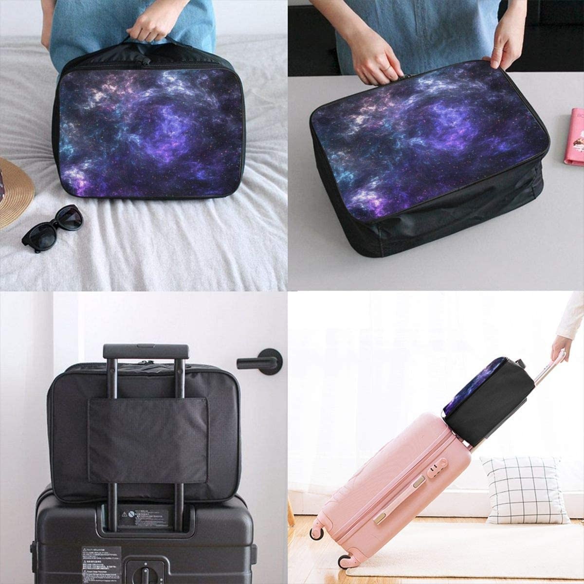 Yunshm Galaxy Stars Nebulae Clusters Customized Trolley Handbag Waterproof Unisex Large Capacity For Business Travel Storage