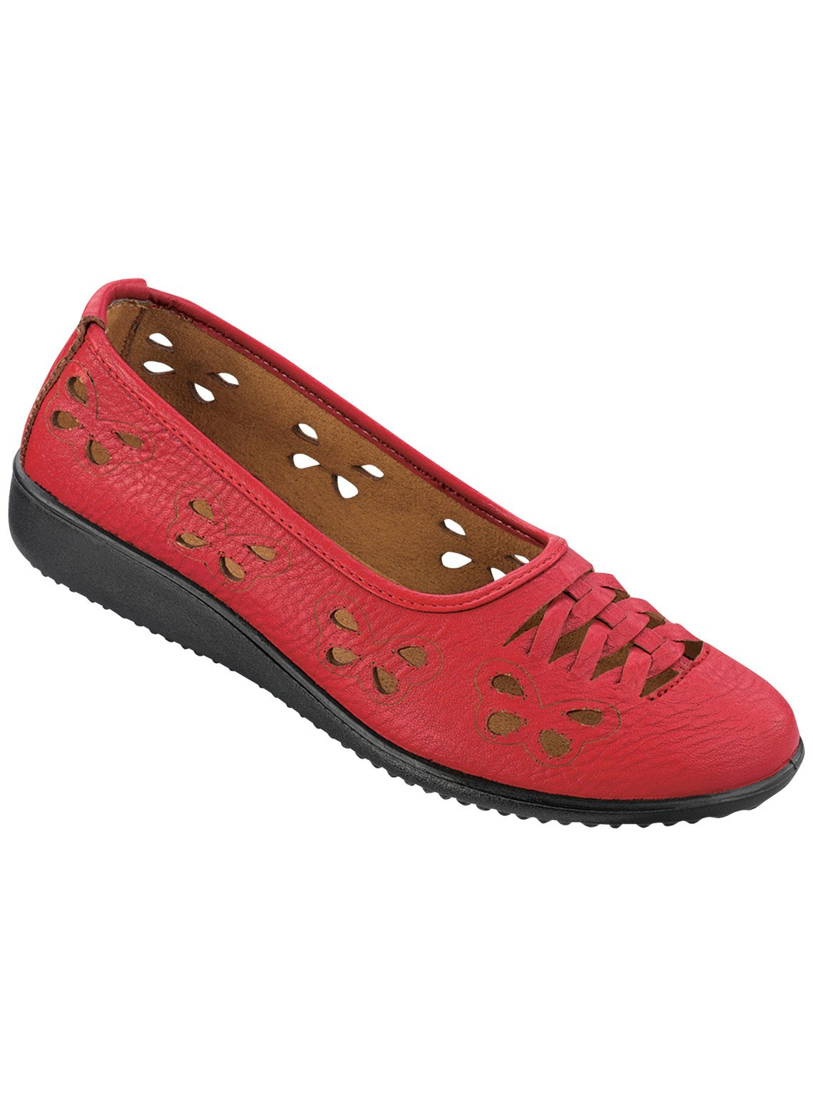 Carol Wright Gifts Butterfly Flats, Red, Size 8 (Extra Wide)