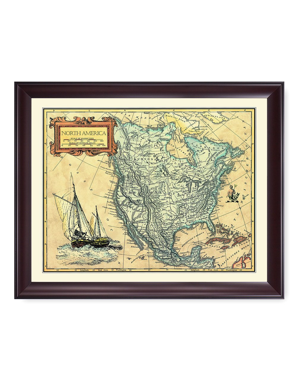 DecorArts- North America Map, Ancient Map Giclee Print wall art for Home Decor and Wall Decor. Framed size: 34x28''