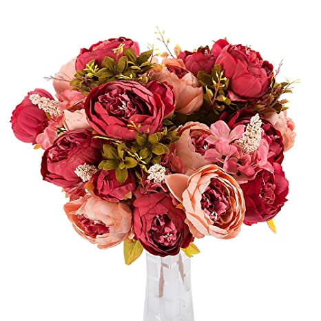 SamMoSon 2019 Flores Artificiales Decoración Plásticas Seda Ramo Nupcial De La Boda,3 Bouquet 24