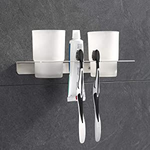 ubeegol Toothbrush Holder Wall Mounted with Two Glass Cup Bathroom Toothbrush Holder Set Toothbrush and Toothpaste Holder for Couples, SUS304 ,10.6 x 5.5 x 5.5 inches