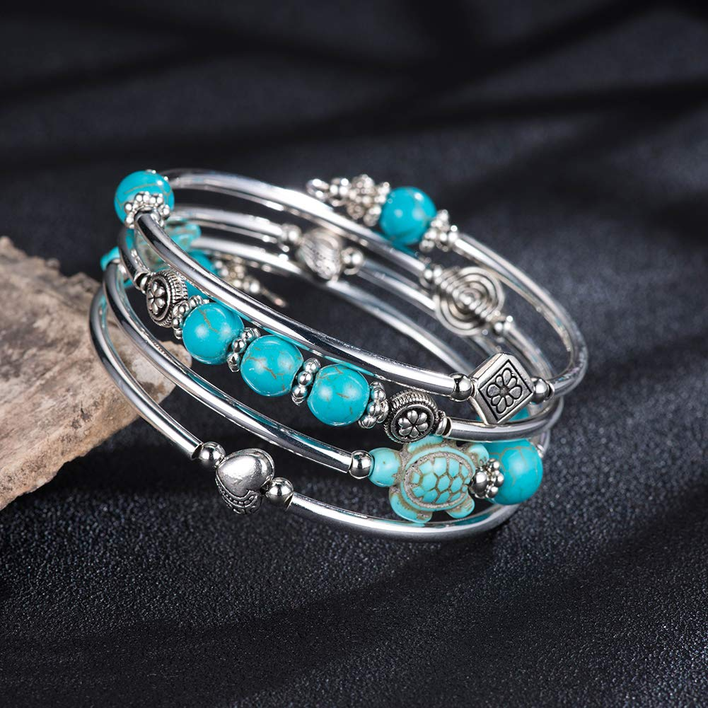 Layered Wrap Bangle Turquoise Bracelet Bead Bracelet with Natural Agate Stone Gifts for Women