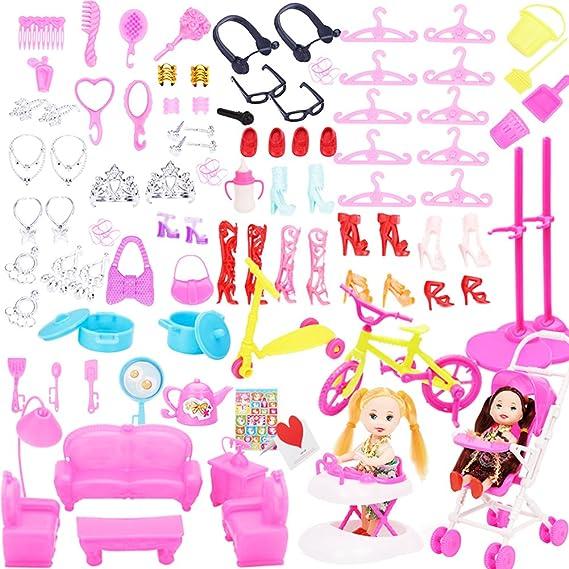 mi ji Joyería Collar Pendiente Peine Zapatos Corona Muñeca Accesorios para  muñecas Barbie Casa de Juguete Accesorios de muñeca 108 Pcs  Amazon.es   Ropa y ... 75a9f357b12