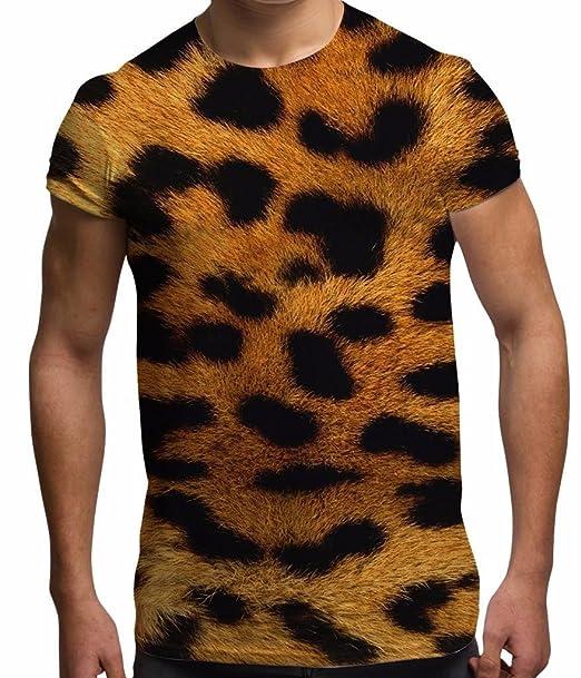 Bang Tidy Clothing Camiseta de Hombre Blanca Talla XL Totalmente Estampada con Piel de Leopardo por sublimación para Vacaciones y Festivales: Amazon.es: ...