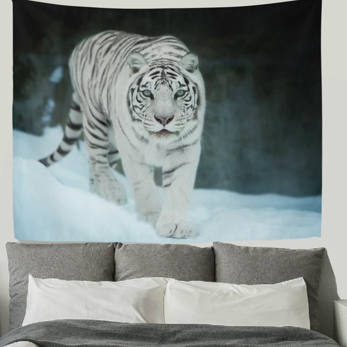 HMWR 90×60 Inch Tiger Tapestry Wall Hanging Cool Animal Bengal White Tiger in The Snow Wall Fabric Tapestry Throw Artwork Home Decoration for Living Room Bedroom Dorm