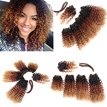 Amazon ombre blonde curly hair 4 bundles mixed length weaves ombre blonde curly hair 4 bundles mixed length weaves hair extensions synthetic with hair closure and pmusecretfo Choice Image