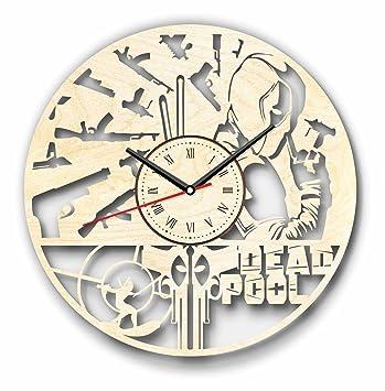 Reloj de pared de madera - perfecto Deadpool bonito y cortar - Decora tu hogar con arte moderno - regalo único para él y para ella - Tamaño 12 pulgadas: ...