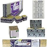 """Grodan 1.5"""" x 1.5"""" x 1.5"""" Mini Blocks Grow Media Rockwool Stonewool Cube Propagation + Twin Canaries Chart - 15 Cubes"""