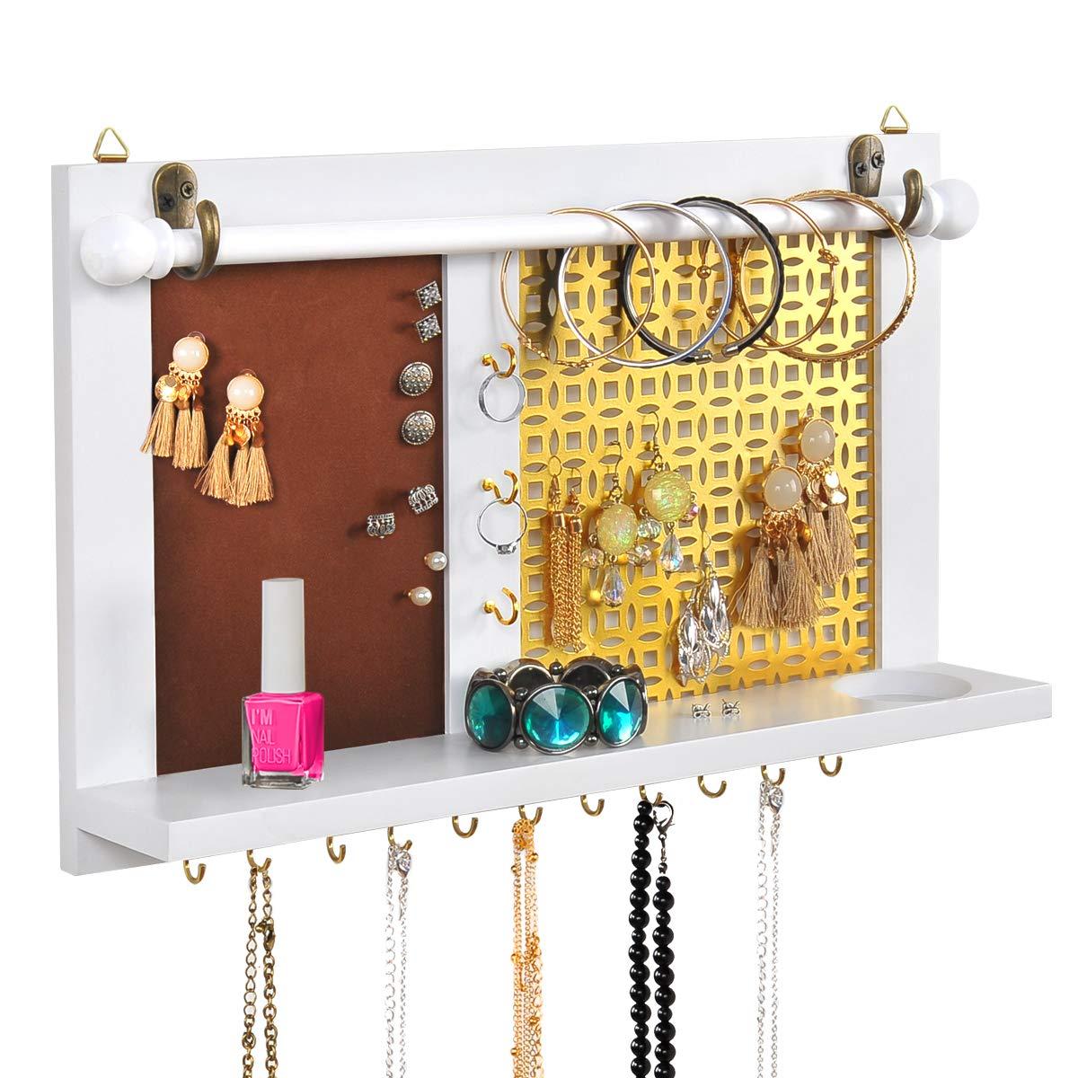 ASHLEYRIVER White Wall Mounted Jewelry Organizer Wood Bracelet Organizer/Necklace Holder/Earring Organizer