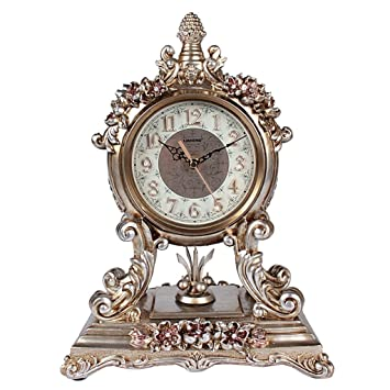 SESO UK- Reloj de Mesa Retro Europeo Creativo Non-Ticking Silent Desk Relojes Decorativos para Sala de Estar (Color : La Plata): Amazon.es: Hogar