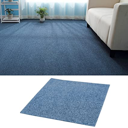 Warmiehomy 20 Tiles 50 X 50cm Hard Wearing Carpet Tiles Anti Slip Floor Covering 5 Sqm 53sq Ft For Home Office Blue