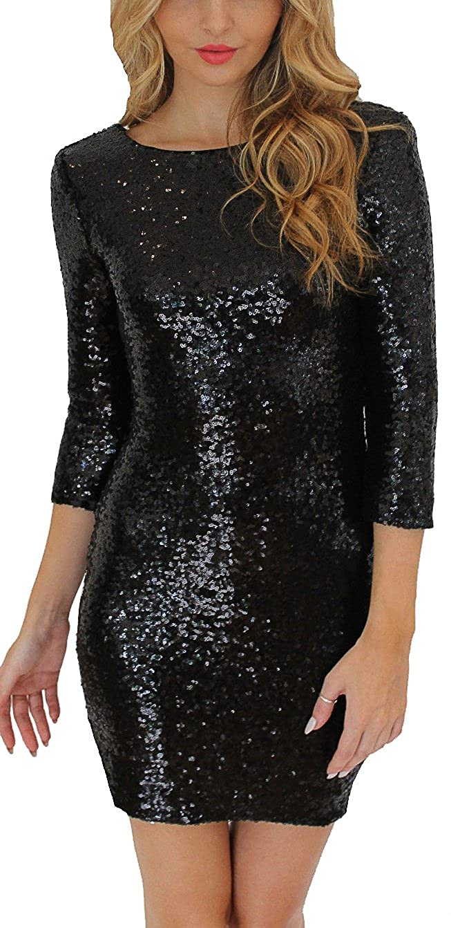 2f7a1916 One Piece Dress Length:Above Knee Sleeve:3/4 Sleeve V Back and Back Hidden  Zip Closure Glitter Sequin Design,More Show Luxury and Perfect for  Party,Club and ...