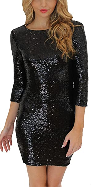 814a9605931 Manzocha Women Sexy V Back Zipper Closure Half Sleeve Wrap Party Dress Black