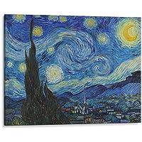Cuadro decorativo de canvas (lienzo), Noche Estrellada - Vincent Van Gogh - Arte famoso, montado en bastidor de madera de 4.5 cm de profundidad (estilo galería). Tamaños adicionales disponibles. Perfecto para decorar casa u oficina, y especial para sala & dormitorio & oficina. 100% Garantizado.