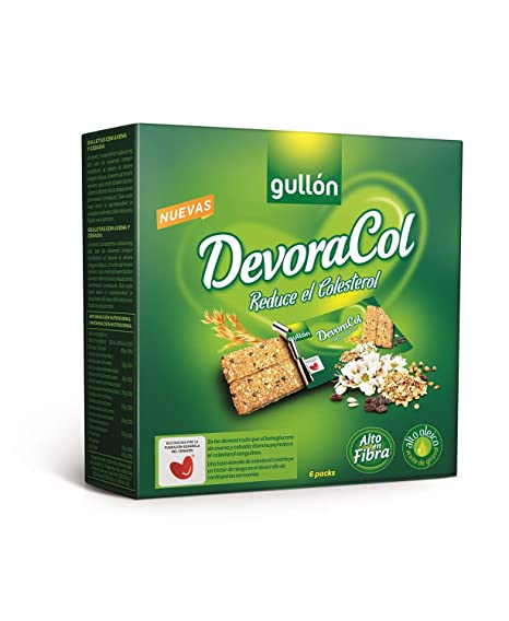 Gullón Devoracol Barritas Galleta Desayuno y Merienda para Reducir el Colesterol - Paquete de 6 x
