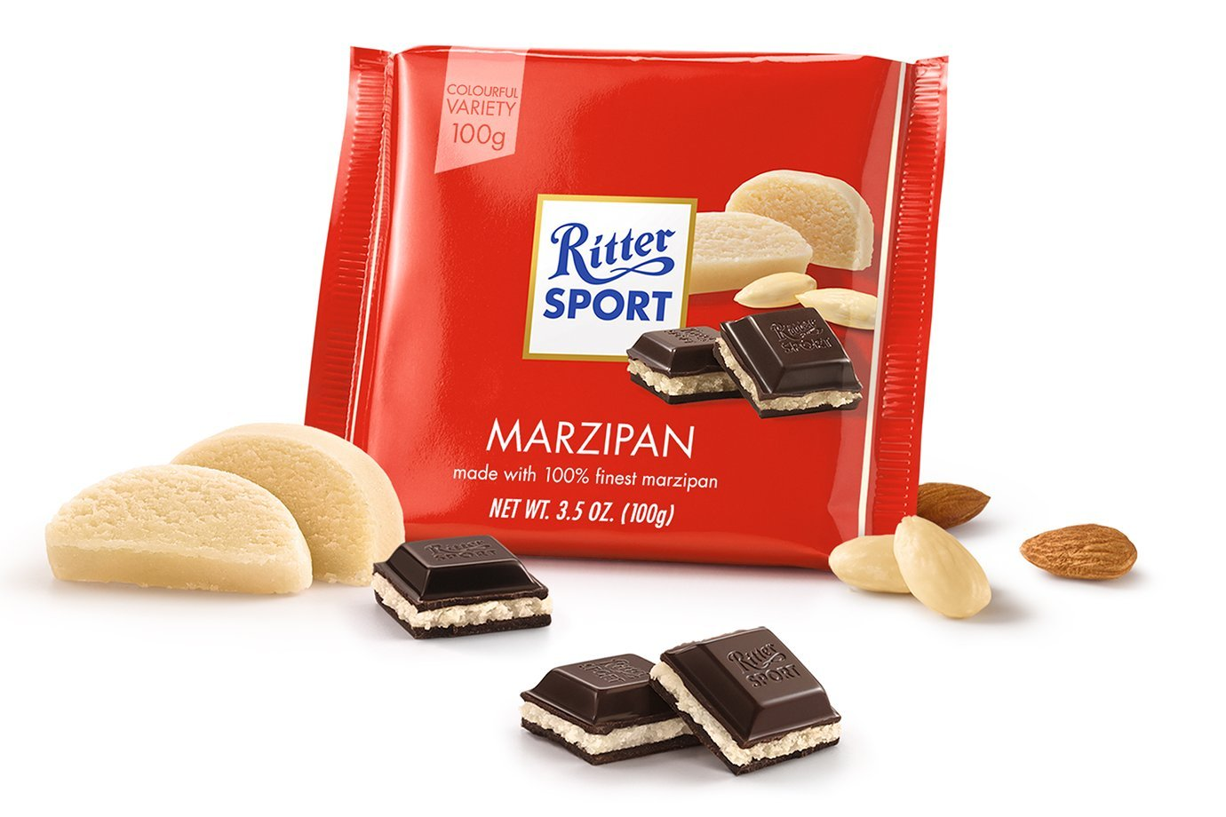 Amazon.com : Ritter Sport Bars, Dark Chocolate with Marzipan, 3.5 ...