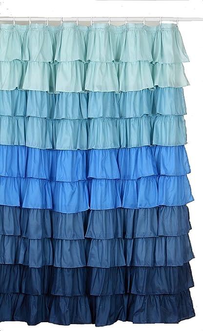 Flamenco Ruffle Shower Curtain Multi Color Blue