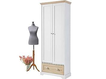 Loft24 Marcey Kleiderschrank Mit Kleiderstange Garderobenschrank  Dielenschrank Schlafzimmer Flur Garderobe Weiß Landhaus 2 Türen 1 Schublade