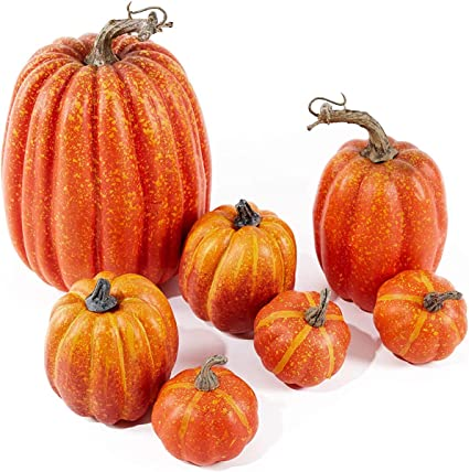 Amazon.com : Little Story Artificial Assorted Pumpkins Mini Fake Artificial Maple Leaves Halloween 7pcs, Christmas Decor Tree Ornaments : Sports & Outdoors