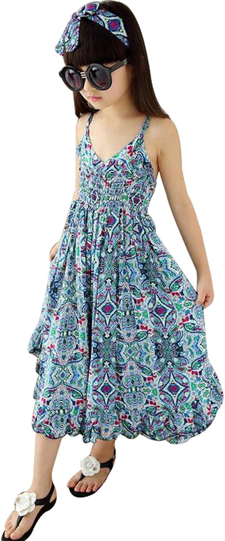 Kids Girls Butterfly Print Straps Dress Summer Floral Sleeveless Jumpsuit Beach Boho Sundress BANGELY