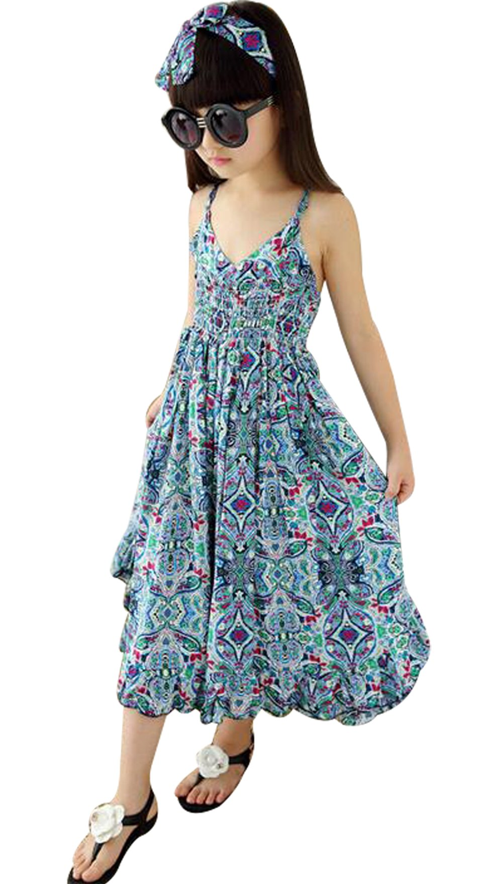 UNIQUEONE Baby Girls Summer Floral Print Sleeveless Straps Jumpsuit Beach Boho Dress Size 4-5Years/Tag120 (Blue)