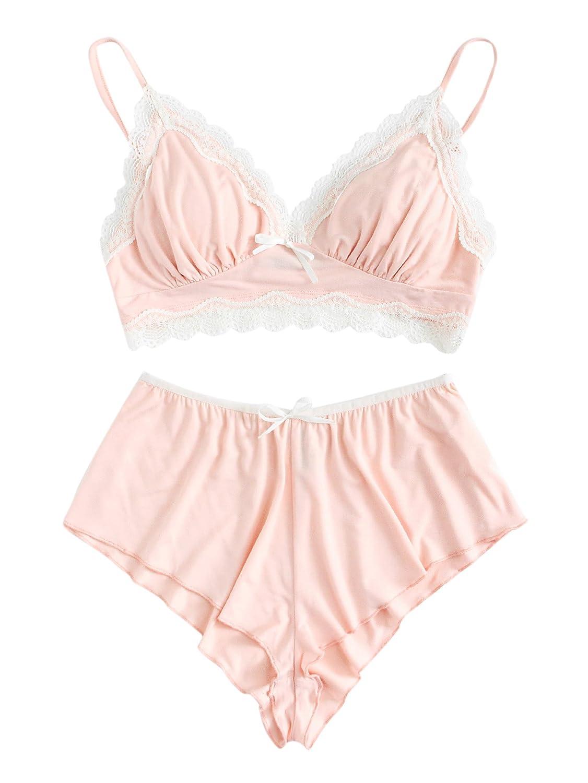 SweatyRocks Women's Lace Trim Underwear Lingerie Straps Bralette and Panty Set