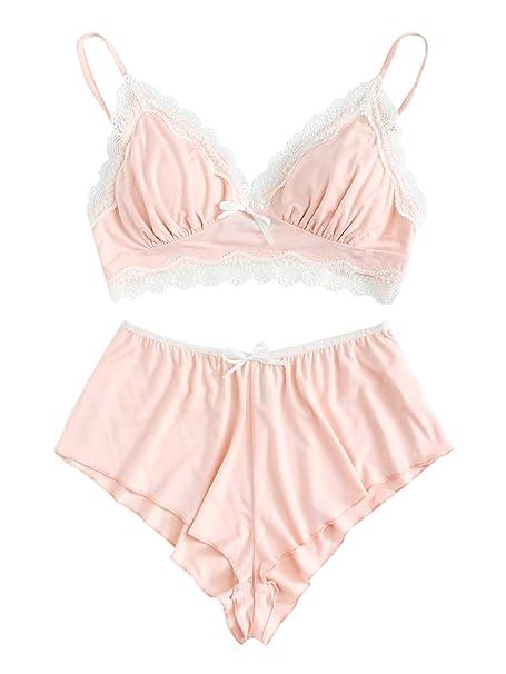 1a3cdb844e4 SweatyRocks Women s Lace Trim Underwear Lingerie Straps Bralette and Panty  Set Pink XS