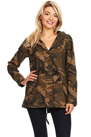 7e97c9ad36 Amazon.com  Ambiance Apparel Women s Camo Army Print Hooded Military Jacket   Clothing