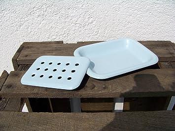 Seifenschale Emaille Landhausstil Nostalgie weiß blau 2tlg