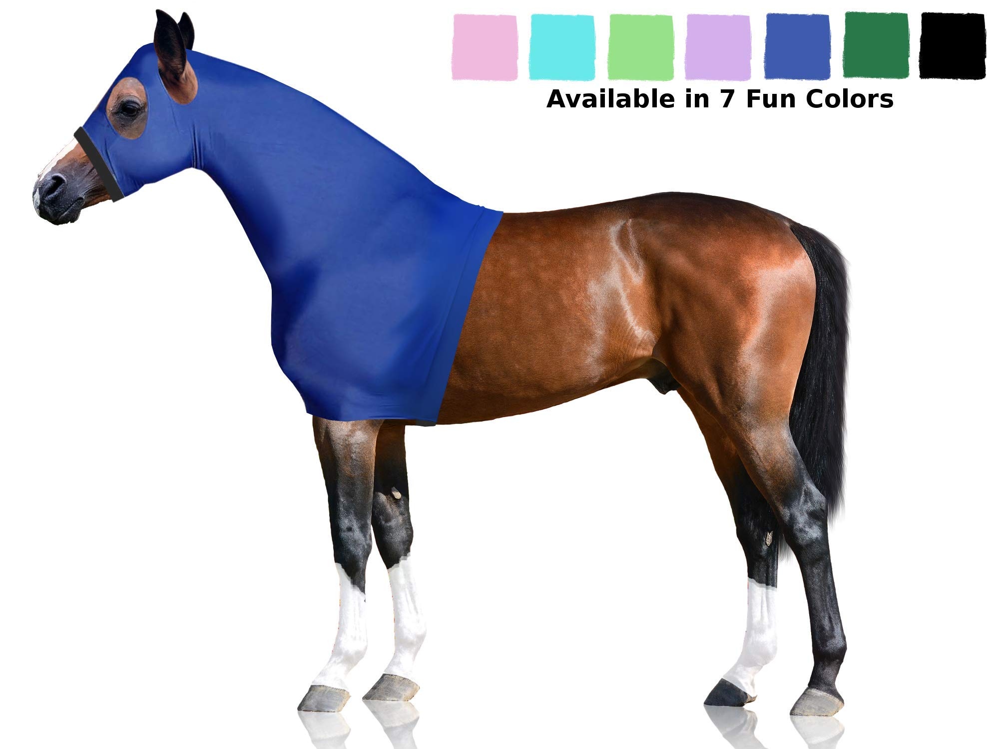 Derby Originals Lycra Horse Hoods with Zipper, Blue, Large