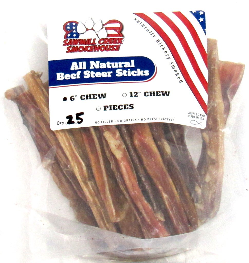 6'' Beef Steer Bully Sticks Odorless Sourced & Made USA Natural USDA certified (25 Pack) by Sawmill Creek Smokehouse (Image #1)