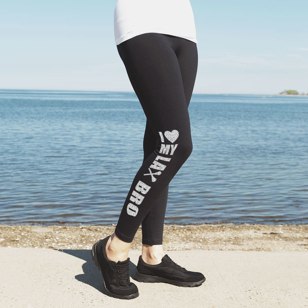 Youth To Adult Sizes I Heart My Lax Bro Leggings Girls Lacrosse Leggings by ChalkTalk SPORTS Multiple Colors
