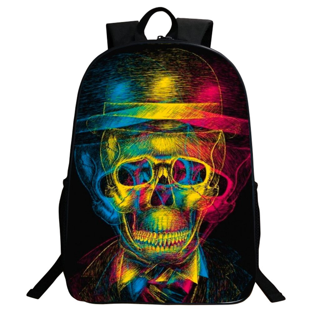 GIM Backpack Bags, Fashion Schoolbag Travel Camping Casual Daypacks Cool Skull Printing School Backpack Rucksack Back Pack Fits Laptop (Colorful)