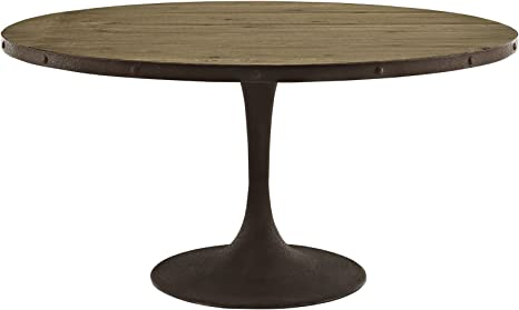 Amazon Com Modway Drive 60 Rustic Modern Farmhouse Pedestal Base Wood And Iron Round Kitchen And Dining Room Table In Brown Tables