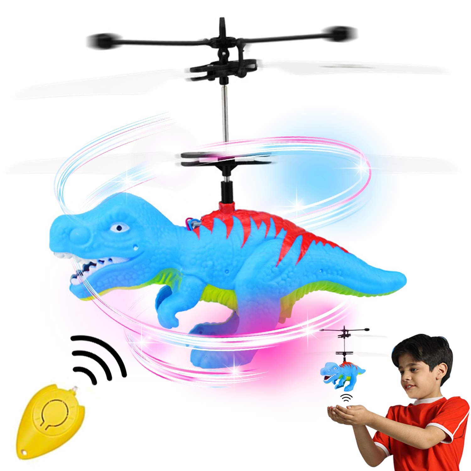 Flying Ball, Kids Toys Hand Control Helicopter Infrared Induction Drone Magic RC Flying Light Up Toys Indoor and Outdoor Games Fun Gadgets for Boys Girls Kids Teenagers Gifts (Flying Dinosaur) by GreaSmart
