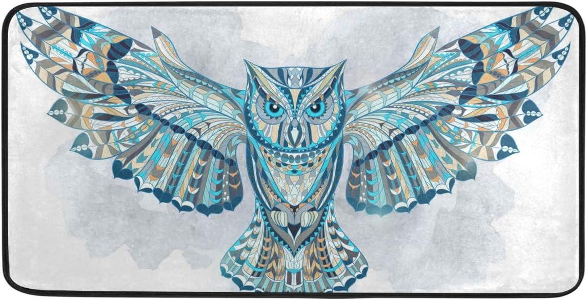 CiCily Doormat Area Rug Mat Blue Owl for Bedroom Front Door Kitchen Indoors Home Decors