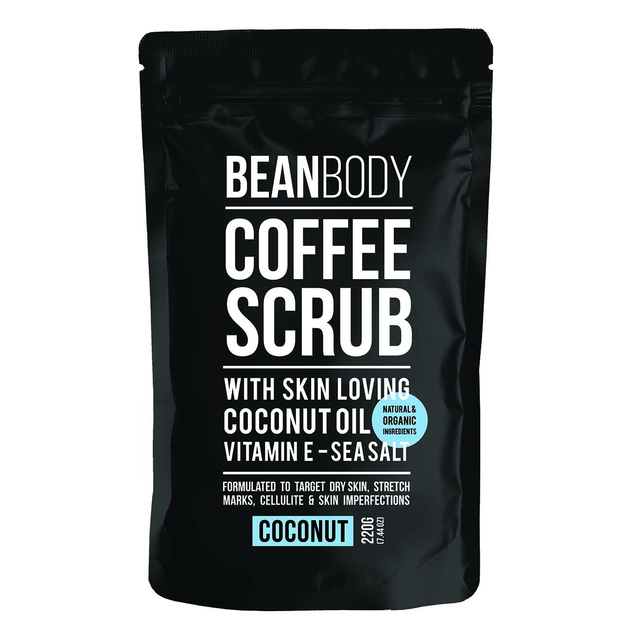 Mr. Bean Organic All Natural Coffee Bean Exfoliating Body Skin Scrub with Coconut Oil, Vitamin E, and Sea Salt- Coconut Mr Bean Body Care
