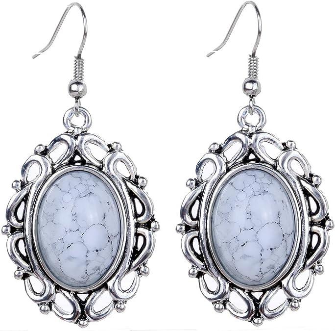 Yazilind Klassiker tibetischen Silber Weiß Oval Türkis baumeln Haken Ohrringe Frauen Geschenk