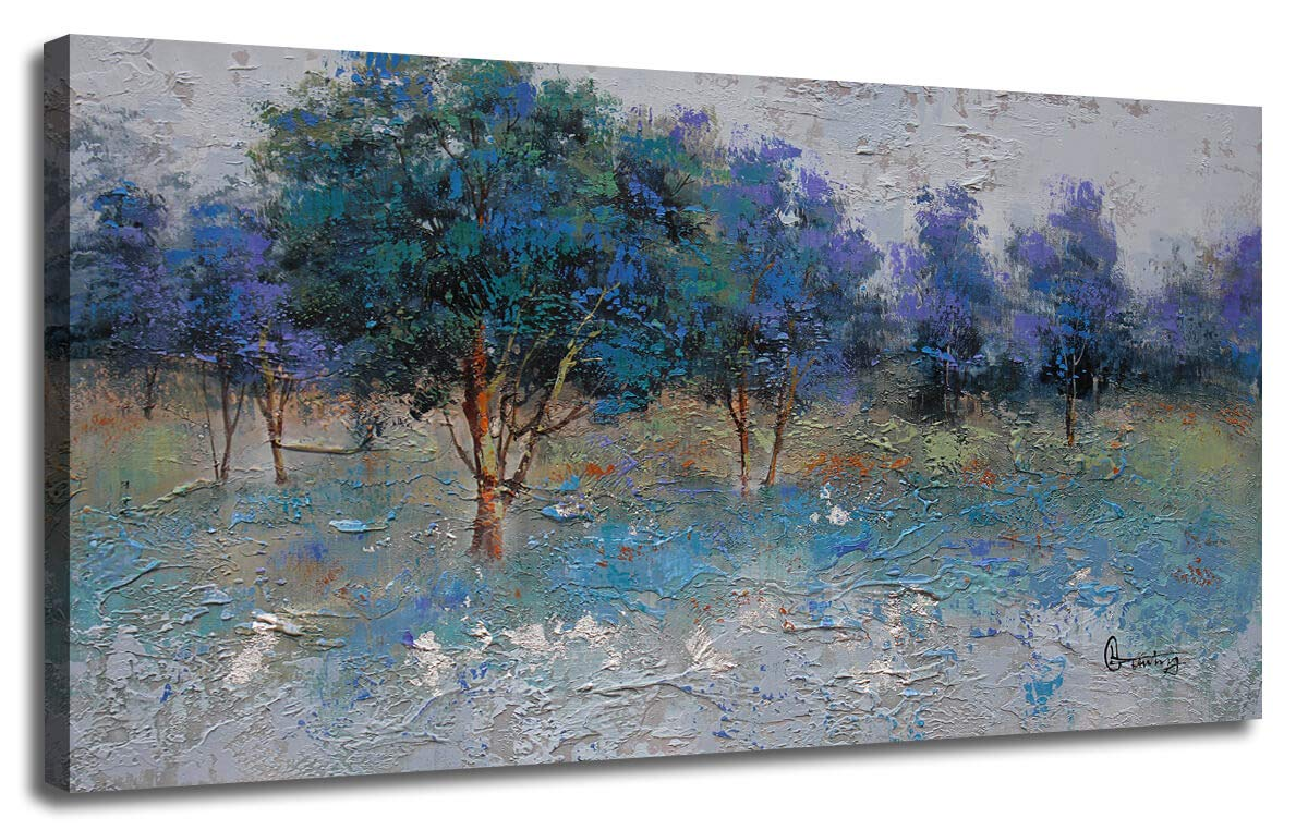 Canvas wall art painting nature trees blue green tones landscape painting textured one panel modern picture wood framed ready to hang for home office living