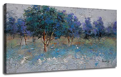 Canvas Wall Art Painting Nature Trees Blue Green Tones Landscape Painting Textured One Panel Modern Picture Wood Framed Ready To Hang For Home Office