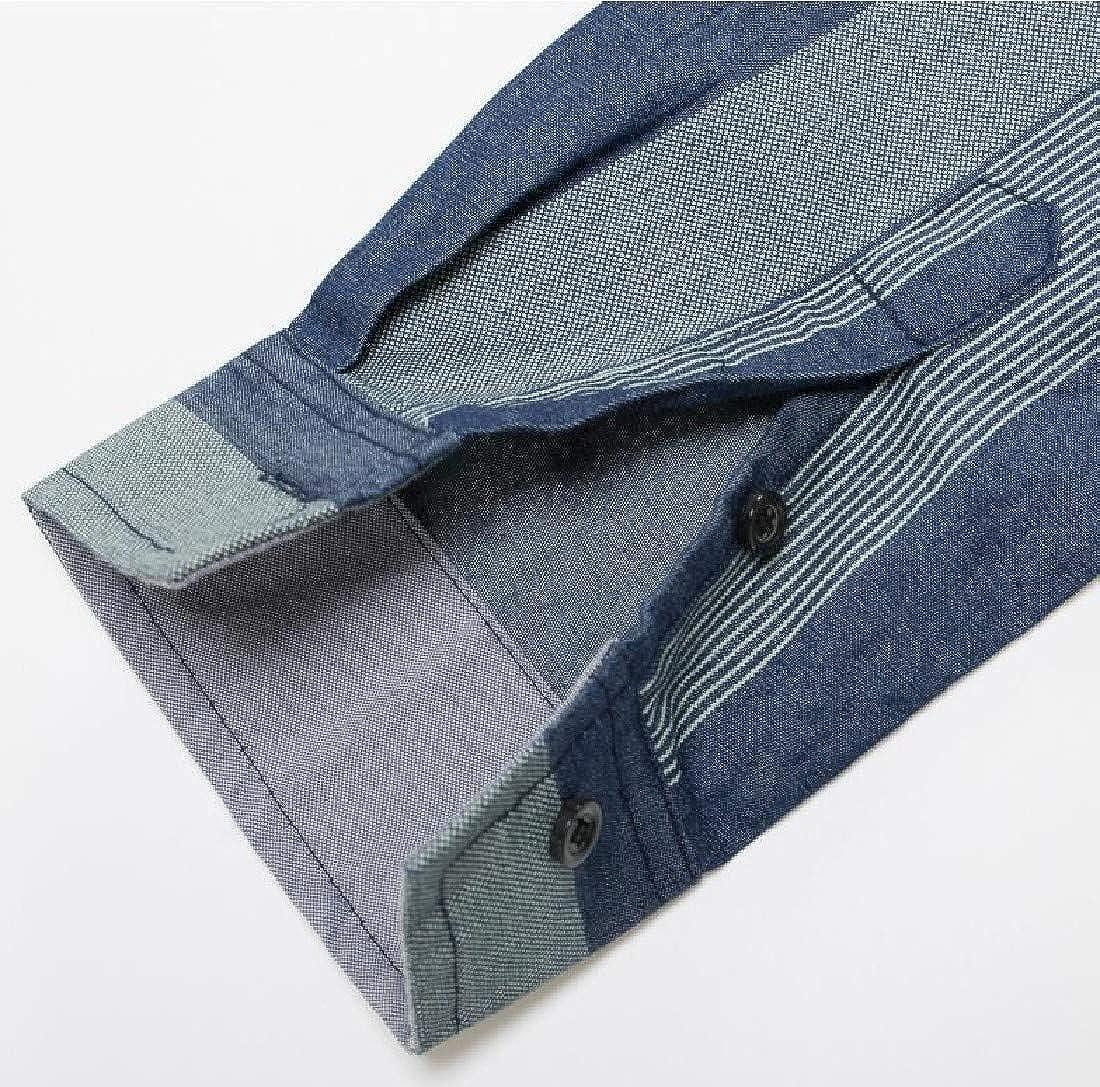 Vska Mens Long Sleeve Cotton Button Down Denim Turn-Down Collar Work Shirt