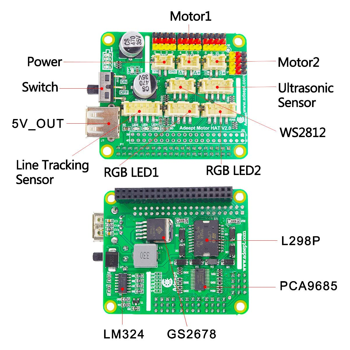 Adeept RaspTank WiFi Wireless Smart Robot Car Kit for Raspberry Pi 3 Model  B+/B/2B, Tank Tracked Robot with 4-DOF Robotic Arm, OpenCV Target Tracking,