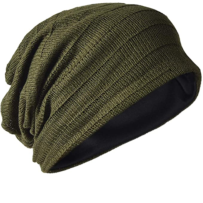 50e69c2a4a2 FORBUSITE Chic Men Baggy Beanie Slouchy Knit Skull Cap Hat (Army Green)   Amazon.co.uk  Clothing