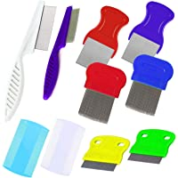 TuNan Set of 10 Pet Dog Grooming Comb, Metal Head Comb for Long Hair, Dog Tear Stain Remover Combs, Hair Combs Remover for Dogs Cats, Removes Crust Mucus and Stains - 5 Types