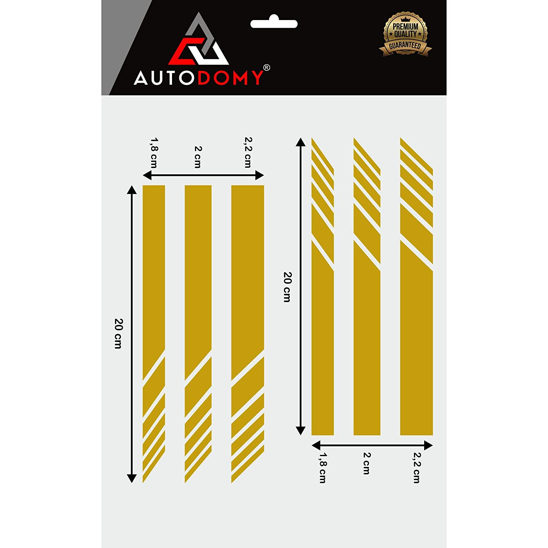 Autodomy Pegatinas Espejo Retrovisor Coche con Dise/ño de Franjas Rayas Pack de 6 Unidades con Diferentes anchuras para Coche Rojo