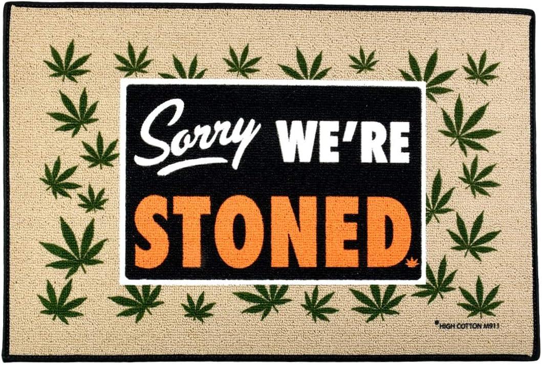 TG,LLC Treasure Gurus Funny Sorry We're Stoned Marijuana Welcome Doormat Outdoor Floor Rug Weed Entry Door Mat